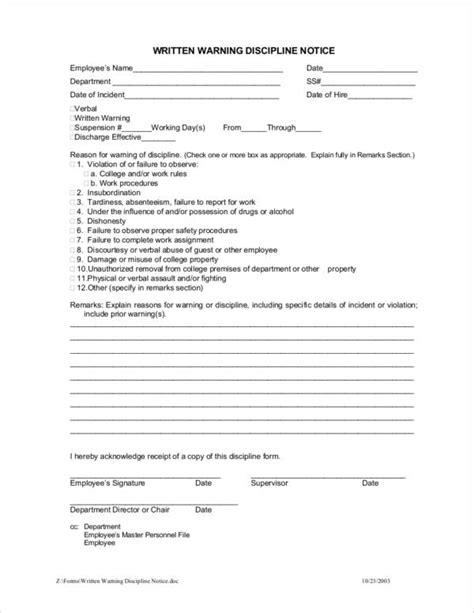 employee warning notice samples templates
