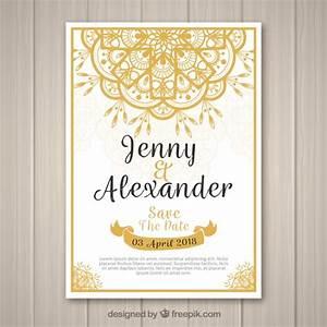 wedding invitation with golden mandala vector free download With golden wedding invitations free downloads