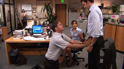 Dwight Standing At His Desk by The Office Season 8 Review And Episode Guide Basementrejects