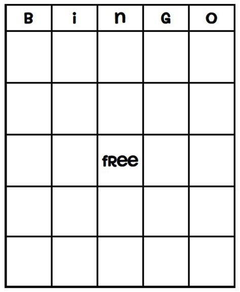 printable bingo card templates bingo card template