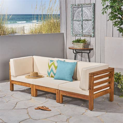 frankie outdoor acacia wood sectional sofa with cushions
