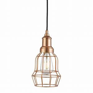 Copper tapered cage pendant light cu stanways