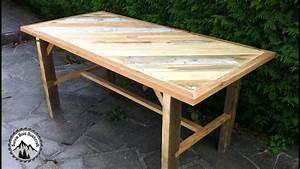 Fabriquer Une Table De Cuisine Avec Un Plan De Travail : fabrication d 39 une table solide avec du bois de r cup ration partie 2 youtube ~ Nature-et-papiers.com Idées de Décoration