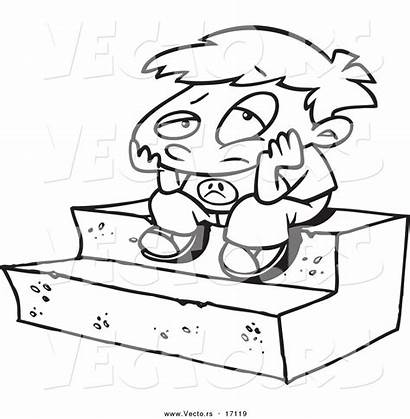 Bored Lonely Coloring Cartoon Boy Sitting Outline