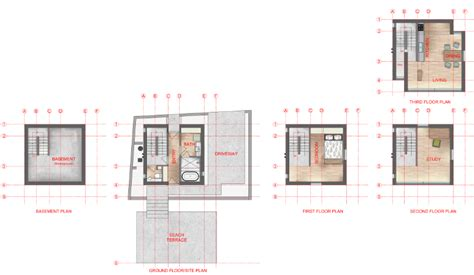 rendered floor plans of tadao ando s 4x4 house by zion abraham architecture and design
