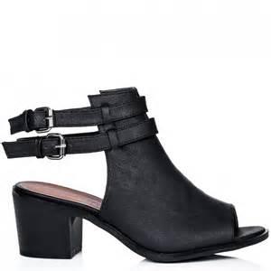 Block Heel Peep Toe Ankle Boots