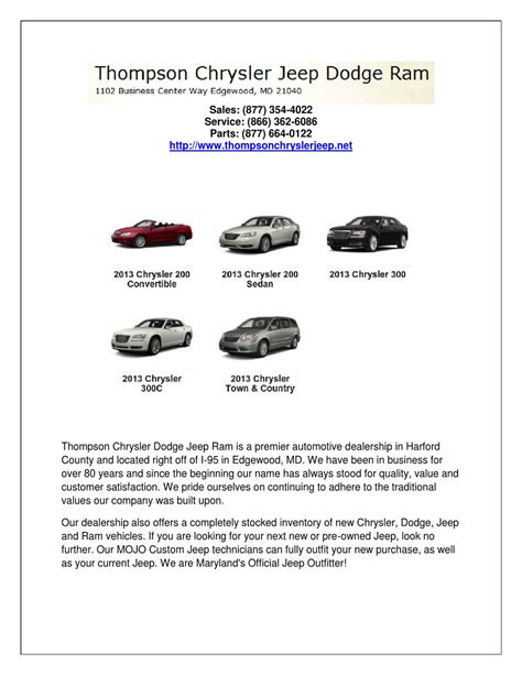 Dodge Coupons by Dodge Service Coupons By Thompson Chrysler Jeep Dodge Ram