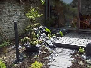 jardin zen terrasse bois bassin plantation youtube With amenager un jardin japonais