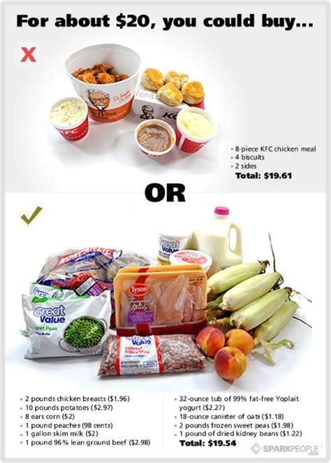 food showdown fast food  healthy food sparkpeople