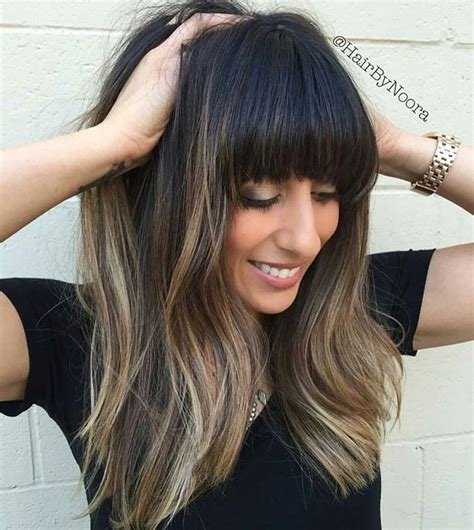 long dark hairstyles with bangs 25 best ideas about thick bangs on pinterest long hair