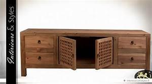 Meuble Tv Rustique : meuble tv de style rustique et oriental en pin recycl ~ Nature-et-papiers.com Idées de Décoration