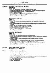 Medical Office Receptionist Resume Sample Receptionist Resume Samples Velvet Jobs