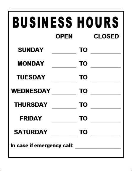 business hours template 8 business hours template timeline template