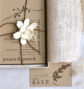 Burlap wedding invitations rustic boxed wedding for Rustic wedding invitations in a box