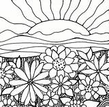 Coloring Sunset Pages Adult Flower Sun Flowers Sunrise Sheets Field Garden Printables Cool sketch template