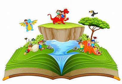 Storybook Dragon Playing Children Character River Near