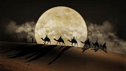 Desert Moon Caravan Rising Camels Rise Backgrounds