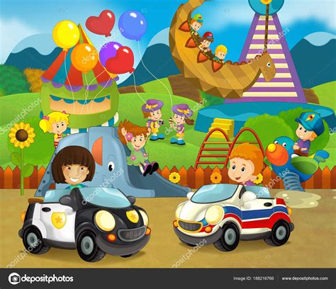 Cartoon Scene Happy Funny Kids Playground Cars