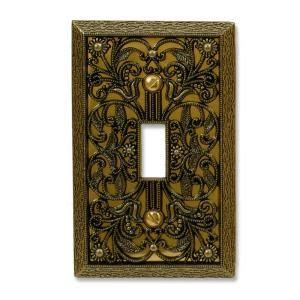amerelle filigree 1 toggle wall plate antique brass in