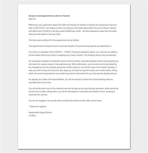temporary appointment letter   word   format