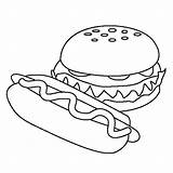 Coloring Dog Hamburger Pages Burger Pizza Cheeseburger Ice Cream Template sketch template