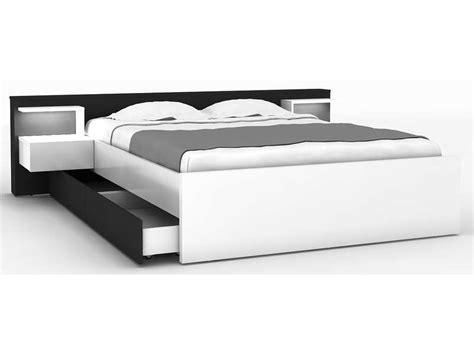 lit tiroir 140x190 lit 140x190 cm 2 chevets tiroir lano coloris blanc et noir vente de lit adulte conforama