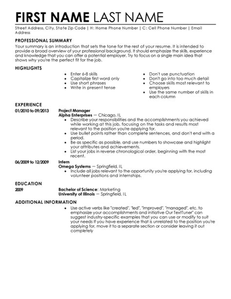 Template For Resume by My Resume Templates