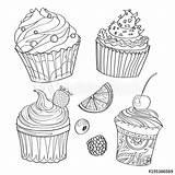 Coloring Cupcakes Kolorowanki Desserts Sweets Cupcake Cake Babeczki Desery Słodycze Berries Kolorowania Babeczka Outline Cakes Similar Kolorowanka Fototapety Slodycze Drawn sketch template