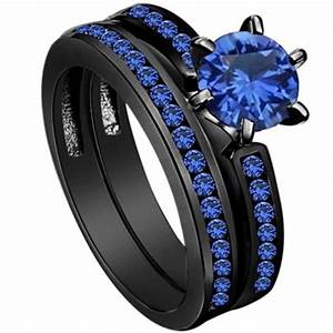 4 12 black wedding ring engagement solitaire blue crystal for Blue and black wedding rings