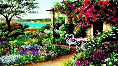 Spring Garden Desktop Background Wallpapers Painting Awesome