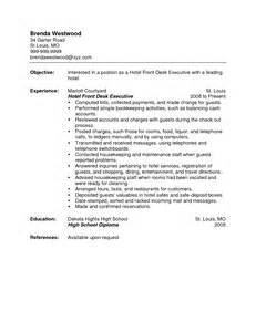 Hotel Front Office Resume Objective by Front Desk Clerk Resume Resume Badak