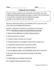 vocabulary 2nd grade figurative language worksheets pun worksheets