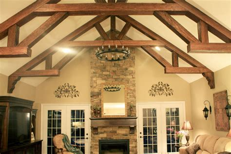 faux wood beam ideas  vaulted ceilings