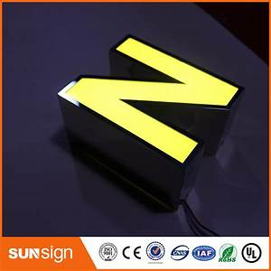 led sign mirror stainless steel logo outdoor led sign 3d With acrylic letters with led