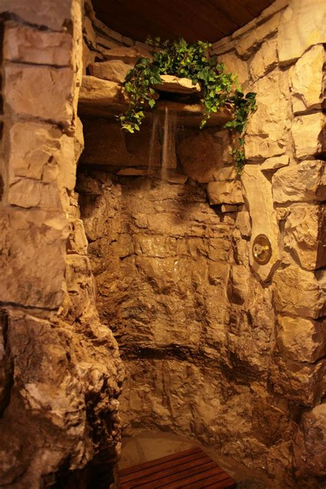 rock wall shower rock shower stone shower rustic bathrooms