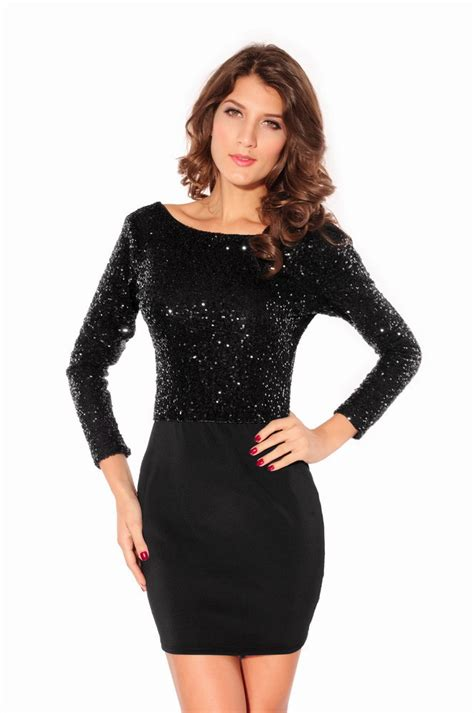 2015 With Jersey Mini Dress Black Sequin Cowl Long Sleeve