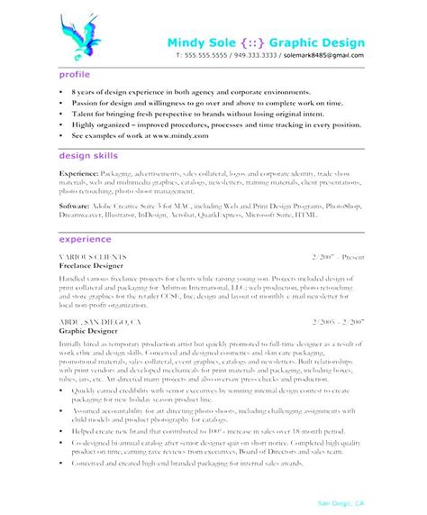 Graphic Design Resume Sles 2016 by Format Of Cv For Graphic Designer