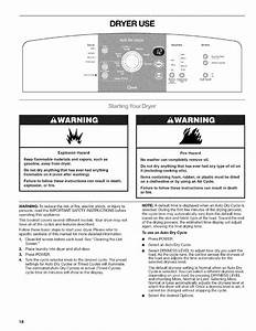 Page 18 Of Kenmore Clothes Dryer 110 6703 User Guide