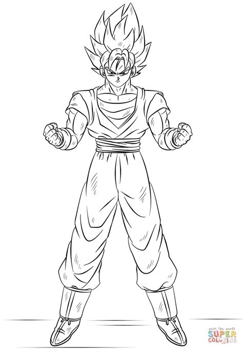 Goku Kleurplaat by Saiyan Goku Coloring Pages Saiyan Goku