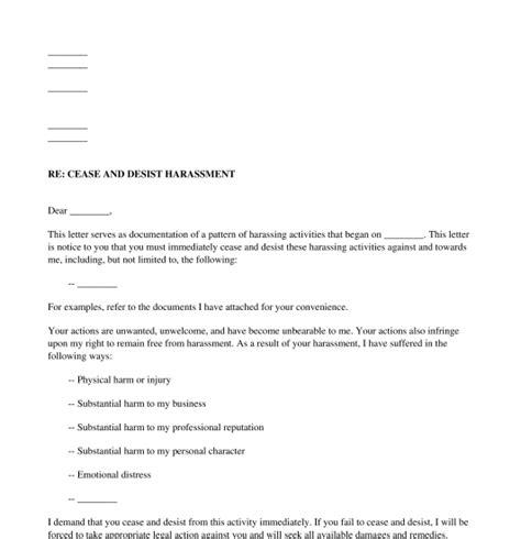 harassment cease  desist letter sample template