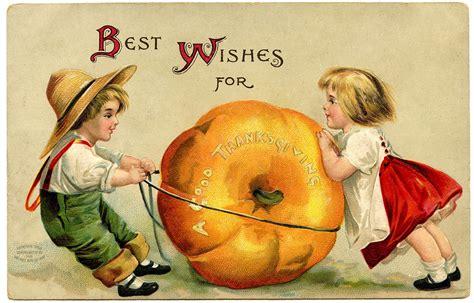 vintage thanksgiving image cute kids  pumpkin