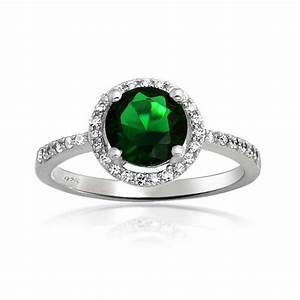 silver round emerald green cz color crown set engagement ring With green wedding ring