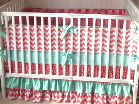 mint green nursery bedding coral and mint ruffled crib bedding set deposit green