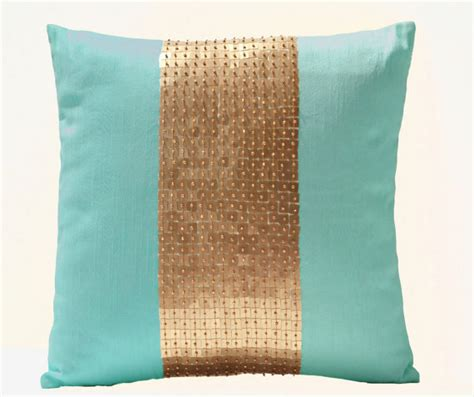 teal colored pillows teal pillows teal gold color block pillows in silk sequin