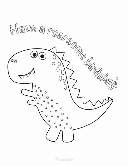 Coloring Birthday Happy Dinosaur Printable Homemade Easy