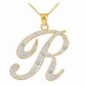 14k gold letter script quotrquot diamond initial pendant necklace With diamond letter r necklace
