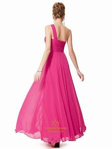 Hot Pink Chiffon One Shoulder Long Bridesmaid Dress With ...