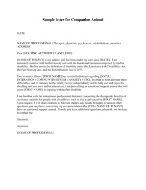 support letter sle companion animal letter service dogs therapy dogs 7946