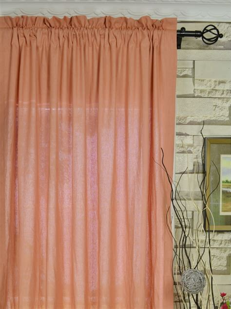 qyk246see eos linen pink solid rod pocket sheer curtains