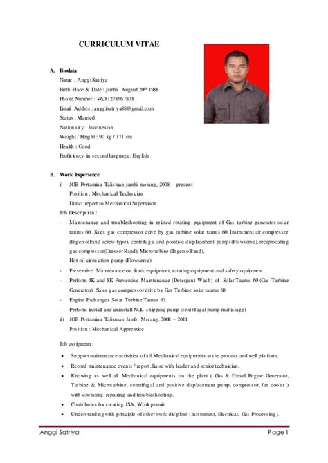 cv anggi satriya mechanical technician